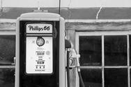 Gas pump old antique rural petrol auto service Phillips 66 BW Stock Photos