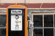Gas pump old antique rural petrol auto service Phillips 66 Stock Photos
