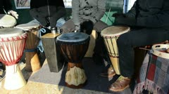 Musician people play  wood handmade drum outdoor spring concert Stock Footage