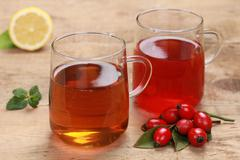 rooibos and rosehip tea - stock photo