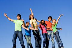 happy group of diverse multi racial kids at summer camp - stock photo