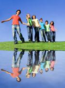 happy group of kids at summer camp - stock photo