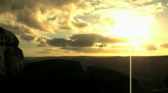 Hiker Viewing Sunset on Dartmoor, England - Silhouette, Skyline Stock Footage
