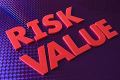 risk value word on blue neon background - stock photo