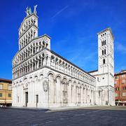 Lucca landmark, san michele in foro church.  tuscany, italy. Stock Photos