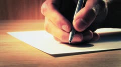 Writing a Letter - Extreme Close Up Stock Footage