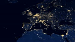 Europe Night From Space - stock footage