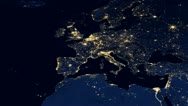 Stock Video Footage of Europe Night From Space