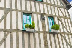 Facade of old house in chartres. france Stock Photos