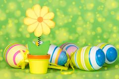Stock Photo of decorative flower and easter eggs