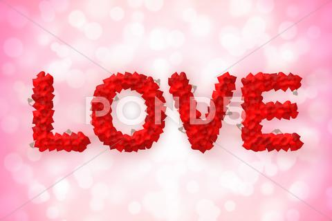Stock Illustration of love text made of heart shape