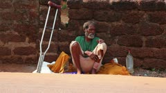 Homeless man sick in India. Goa. Stock Footage