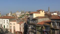 Pan skyline old quarter City of Porto, a World Heritage Site Stock Footage