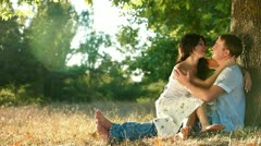 Hot summer - couple enjoying the warmth and each other - stock footage