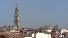 Torre dos Clerigos tilt down old quarter City of Porto Stock Footage