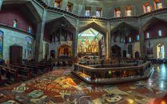 panorama - interior of church of the annunciation, nazareth - stock photo