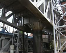 Piston in operation + pan brick building boat lift Houdeng-Goegnies Stock Footage