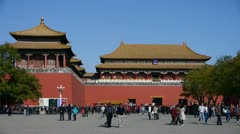 timelapse beijing forbidden city & tourist,China's royal Meridian Gate. - stock footage