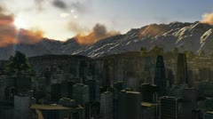 City and Mountains, time lapse sunset, helicopter view - stock footage
