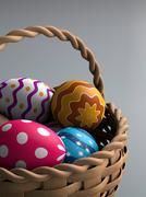 Easter eggs in a basket Stock Illustration
