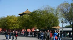 Stock Video Footage of beijing timelapse forbidden city & tourist,China's royal Meridian Gate.
