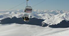Ultra HD 4K Winter Landscape, Ski Resort in Beautiful Mountains in Cold Stock Footage