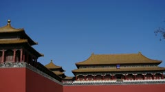 Beijing forbidden city,red wall & golden roof,China's royal architecture. Stock Footage