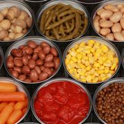 collection of canned vegetables - stock photo