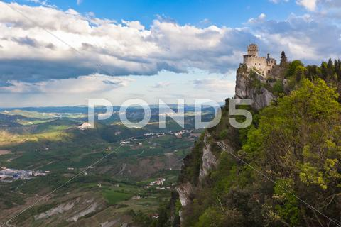 Stock photo of castle in san marino - la cesta or fratta