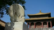 China ancient stone time measure instrument & forbidden city. Stock Footage