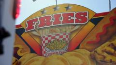 French Fries Vendor Closed at Canival Stock Footage