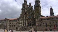 Obradoiro square tilt up front Cathedral of Santiago de Compostela Stock Footage