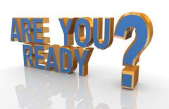 """3d phrase """"are you ready? - stock illustration"""