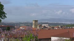 Skyline historical city of Santiago de Compostela, Spain - pan Stock Footage