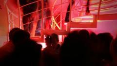 Crowd of many people nightclub (night club) timelapse. Camera panorama movement Stock Footage