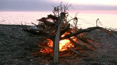 Camp Fire at the Beach - Baltic Sea, Northern Germany Stock Footage