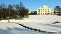 Palace on a hill in Pavlovsk, the environ of St. Petersburg, Russia Stock Footage