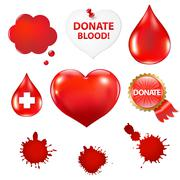 big set with blood drop and heart - stock illustration