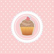 vintage card with cupcake - stock illustration