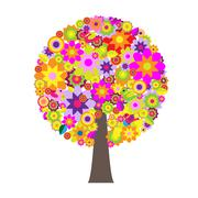 tree with flowers - stock illustration