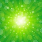 Green sunburst background Stock Illustration