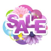sale poster with gerber - stock illustration