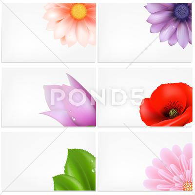 Stock Illustration of vector set of greeting cards with flowers