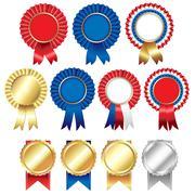 ribbons rosette badge - stock illustration