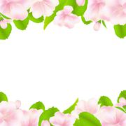 apple tree flowers with frame - stock illustration