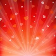 backgrounds with beams and hearts - stock illustration