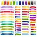 Stock Illustration of big color web ribbons and arrows