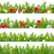big borders set with christmas tree - stock illustration