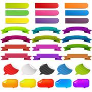 Big set stickers and ribbons Stock Illustration