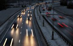 highway in winter - stock photo